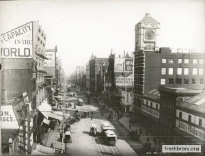 "1889 photograph of Market Street, flanked by the ""Big Six"" department stores."
