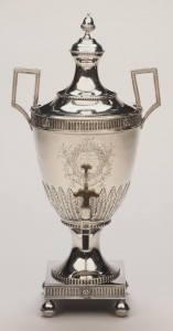 Hot water urn in Greek-inspired neoclassical style.