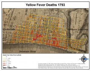 map of yellow fever cases in Philadelphia