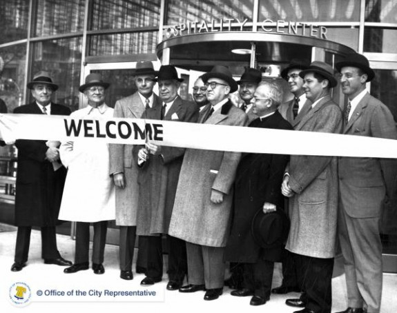Opening of Tourist Center in JFK Plaza, 1960
