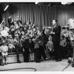 "Bill Webber interacts with the ""Peanut Gallery"" live audience on ""Wee Willie Webber's Colorful Cartoon Club"" on WPHL-TV, Channel 17.  (Photograph published with permission of The Webber Family, Copyright 2012, The Webber Family.)"