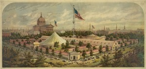 A painting of the sanitary fair buildings on Logan Square in 1864. The image shows the large american flag at the center of the complex, the main hall that cut through the middle of the square, and smaller buildings attached to the main hall. There are some trees in between the buildings, and you can see the skyline of Philadelphia in the background.