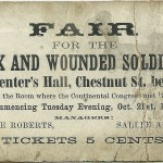 A card handed out to advertise the sanitary fair at Carpenter's Hall on Chestnut Street.