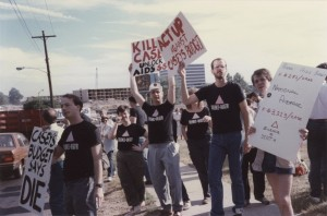 Photograph of a protest on City Avenue