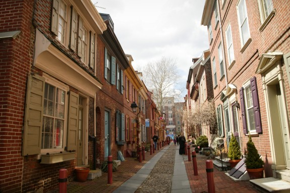 Colonial ambiance attracts visitors, but continuing research reveals a longer, more varied history on Elfreth's Alley. (Photograph for The Encyclopedia of Greater Philadelphia by Jamie Castagnoli)