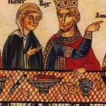 illustration of Persian King Ahasuerus, a pretzel shown on the table