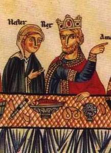 illustration of Persian King Ahasuerus, a pretzel shown on the table