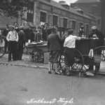 Pretzel vendors compete for business outside Northeast High School in 1934