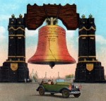 A color postcard that depicts a drawing of the large Liberty bell made for the sesquicentennial. The large liberty bell is held up by two pillars on each side. A car is driving in front of the bell and has a male driver with a female passenger. Some of the cranes used in Philadelphia's southern docks are in the background.