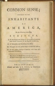 A photograph of Thomas Paine's pamphlets Common Sense.