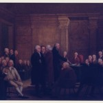 A painting depicting the members of Congress voting on the Declaration of Independence inside the Pennsylvania State House in 1776.