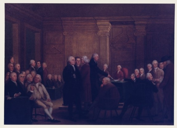 Edward Savage's painting, Congress Voting Independence, depicting the scene inside the Pennsylvania State House in 1776.