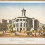 print of an omnibus outside the Merchant's Exchange