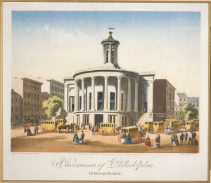 print depicting omnibuses outside the merchant's exchange