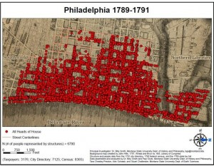 map of philadelphia showing population density
