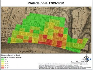 map of philadelphia, showing densities of structures and people