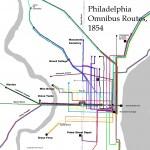 map depicting Philadelphia's omnibus route in 1854