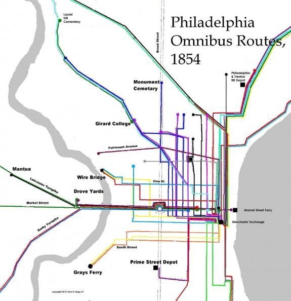 map of Philadelphia's omnibus routes in 1854