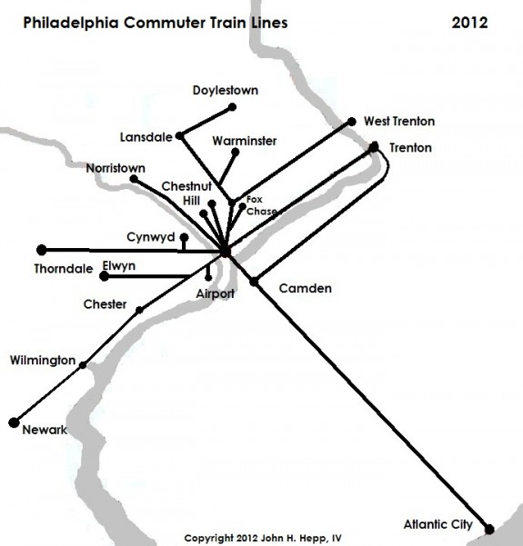 Commuter Trains Encyclopedia Of Greater Philadelphia - Us map of commuter railroads