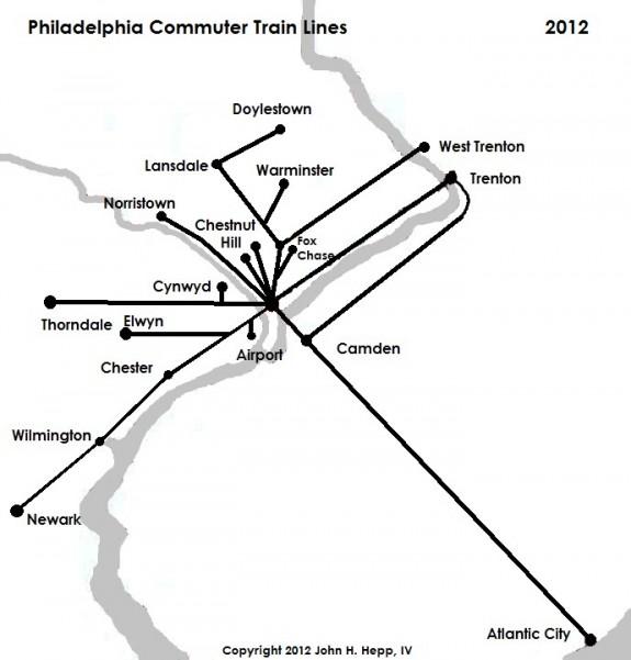 Commuter Trains Encyclopedia Of Greater Philadelphia - Us commuter rail map