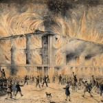 Drawing of the destruction of Pennsylvania Hall