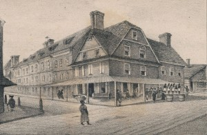 lithograph of the London Coffee House
