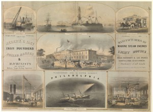 1863 printed advertisement for Merrick and Sons Iron Founders