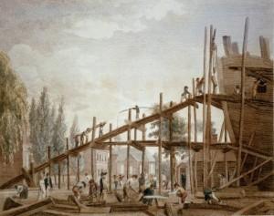 William Birch's 1798 print of the frigate Philadelphia at the Humphrey's and Wharton Shipyard