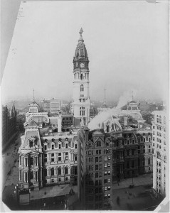 Built at a cost of nearly $25 million over a thirty-year period, Philadelphia City Hall stands as a monument both to the city's aspirations to greatness and the extravagance of its political culture. (Library of Congress)