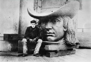 Statue of William Penn, Alexander Milne Calder, prior to full assembly. At thirty-seven feet and 27 tons, the massive bronze statue of William Penn placed atop the building's bell tower has presented a distinctive welcome to Philadelphia. (PhillyHistory.org)