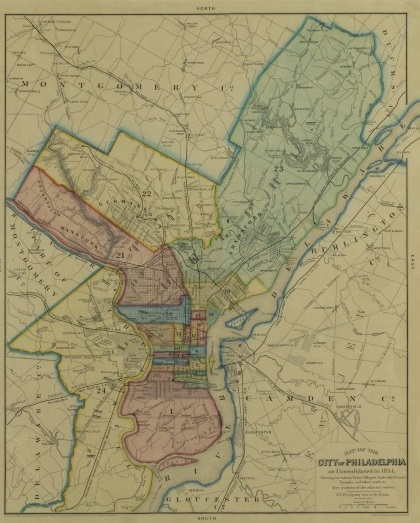 A map of the city of Philadelphia, with colored sections separating sections of the city.