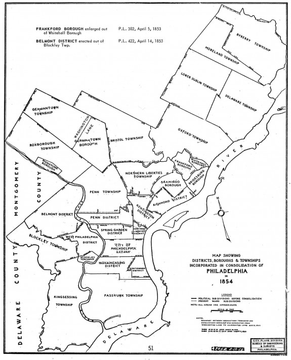 This map depicts the districts, boroughs, and townships consolidated into the City of Philadelphia in 1854. (City of Philadelphia)