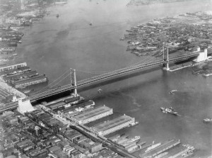 Shown in 1929, the Delaware River Bridge -- later renamed the Benjamin Franklin Bridge -- forged a new connection between the cities of Philadelphia and Camden and led to the creation of a new bi-state governing commission. (PhillyHistory.org)