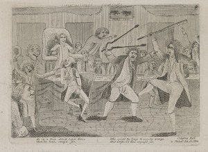 In the first decade of political parties in the United States, a 1798 cartoon depicts fighting in Philadelphia's Congress Hall between Congressman Matthew Lyon, a Jeffersonian Republican, a Roger Griswold, a Federalist. An insulting reference to Lyon by Griswold triggered the spat. (Library of Congress)