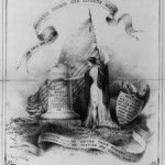lithograph with American iconography of the flag, eagle, and Columbia