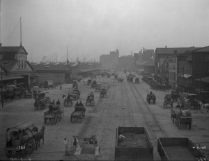 Congestion of Delaware Avenue, even after it was widened in 1898-99, is apparent in this 1905 view looking south from Chestnut Street.