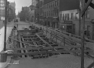 photograph of construction of the Locust Street subway