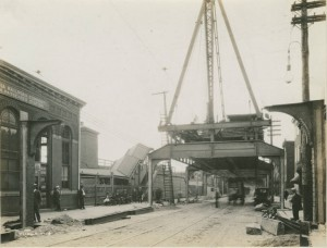 photograph showing construction of the Market Frankford Elevated Subway