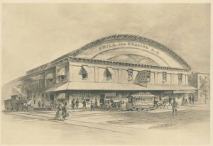 print depicting the Green Street depot