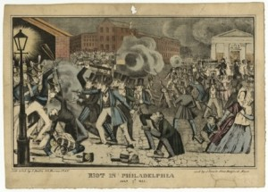 lithograph of the southwark riot