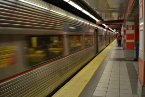 photograph of a Patco train at City Hall Station