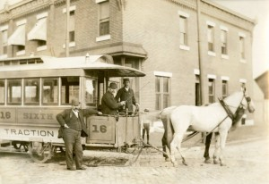 horse-drawn streetcar, photograph
