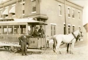 horse-drawn streetcar, photograph