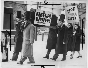 These protesters walking through Center City in 1939 are holding a funeral for the Federal Writers' Project, a program under the Works Progress Administration that was about to receive drastic budget cut. (Historical Society of Pennsylvania)