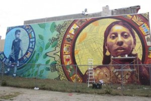 This mural depicts recent immigration to South Philadelphia from Mexico.  (Mary Rizzo)