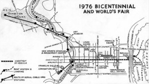1963 map showing Ed Bacon's original plan for the bicentennial celebration