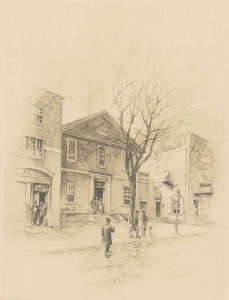 Drawing of the German Society building, black and white. There is a tree with no leaves in front of the building, and a few people  walking along the street.
