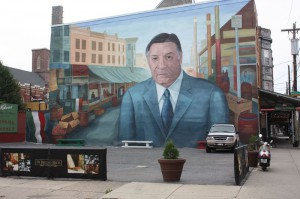 This larger-than-life mural of Frank Rizzo looks out over the Italian Market. (Photo by the author)
