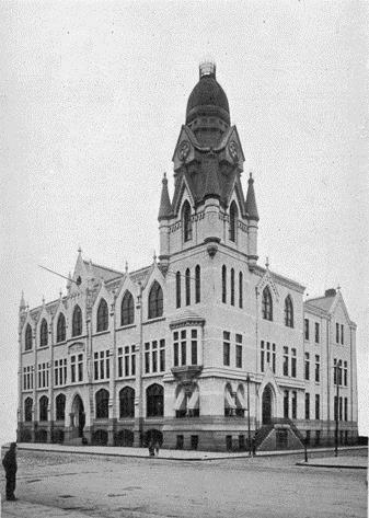 Opened in 1890, Roman Catholic High School was the first free diocesan high school in the United States.  The school's white marble tower, which was 150 feet high and topped in copper, was destroyed by fire in 1959.  (Philadelphia Archdiocesan Historical Research Center)