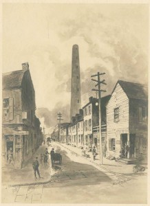 The Shot Tower stands as a remnant of South Philadelphia industry, shown here in a drawing from the 1920s. (Library Company of Philadelphia)